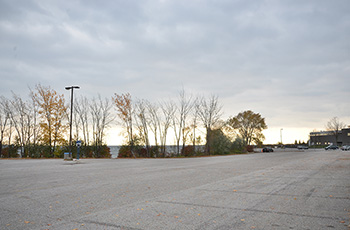 Area of the parking lot where the pavilion will be
