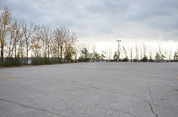 Picture of parking lot area where the ravine will be built