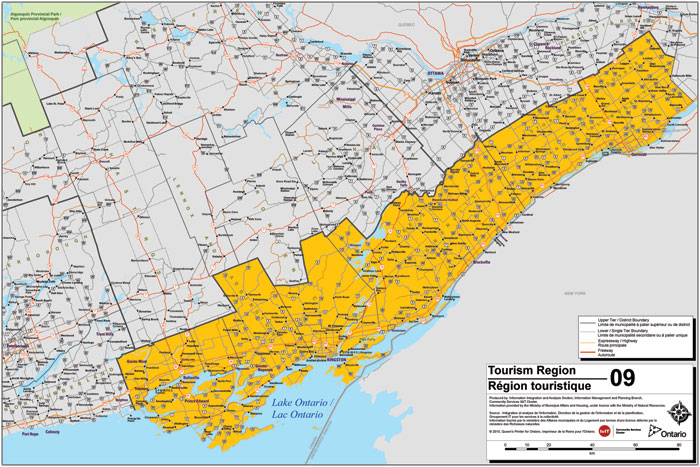 Map Of Eastern Ontario Canada South Eastern Ontario Tourism Region